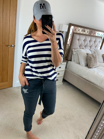 STRIPED ROLL SLEEVE TOP