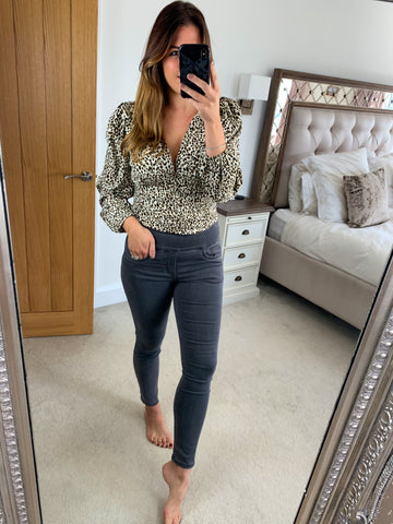 LEOPARD RUCHED BUTTON TOP