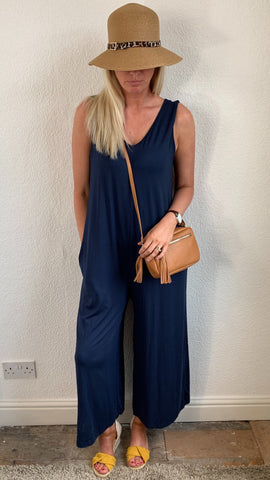 V Neck Sleeveless Wide Leg Jumpsuit