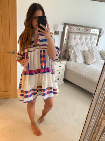 SHORT BOHO AZTEC DRESS