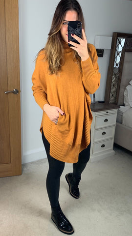 ROLL NECK PONCHO STYLE JUMPER