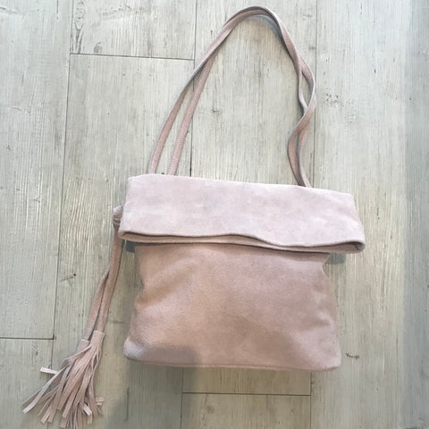 SUEDE ENVELOPE STYLE BAG WITH LONG STRAP