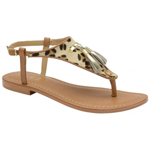Ravel Tan/Leopard Hurst Leather Flat Sandal