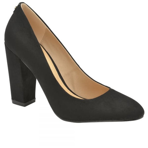 Black Roxton Suede Block Heeled Court Shoes
