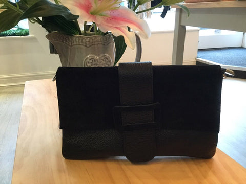 SUEDE/LEATHER ENVELOPE CLUTCH BAG