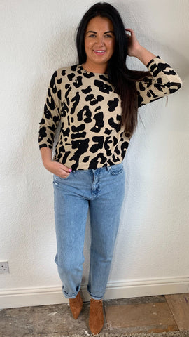 Saint Tropez Fine Knit Animal Print Top