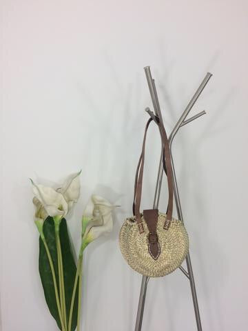 CIRCULAR RATTAN BAG WITH DOUBLE STRAP
