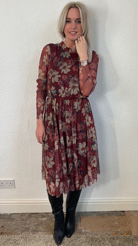 Sofie Schnoor Floral Sheer Sleeve Dress