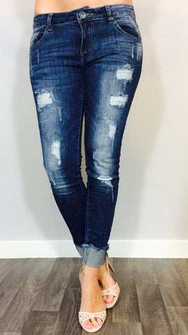 Dark denim ripped jeans