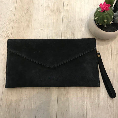 Suede leather clutch bag