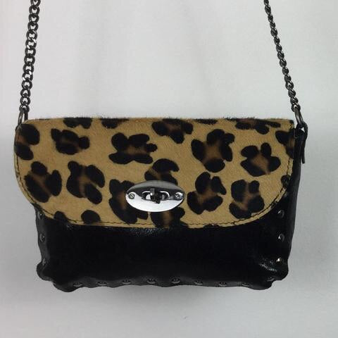LEOPARD PRINT AND LEATHER BAG