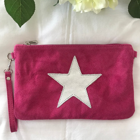 Suede Star Clutch
