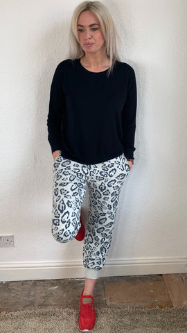 A Postcard From Brighton Cropped Animal Print Jogger