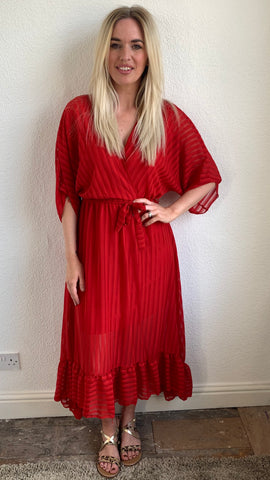 MAXI RUFFLE SLEEVE AND HEM DRESS