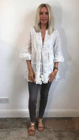 White Embroidery Kaftan Top