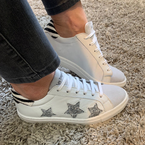 LES TROPEZIENNES  SILVER GLITTER STAR TRAINERS