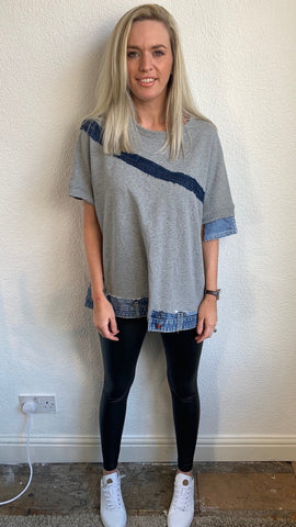 DENIM TRIM TOP