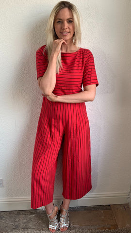 Traffic People Bianca Striped Jumpsuit (red)