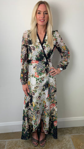 Hope & Ivy Long Sleeve Floral Wrap Maxi Dress