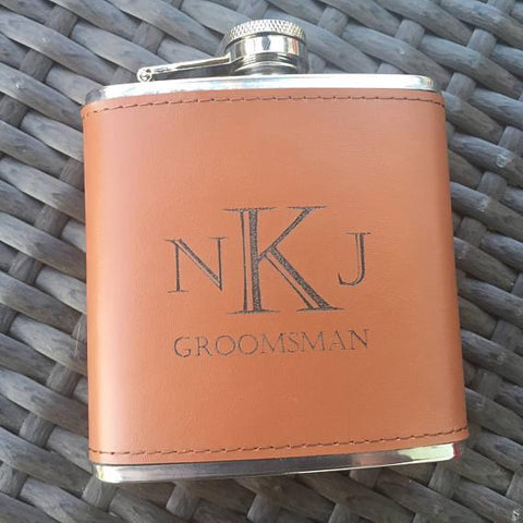 Personalized leather hip flask. Makes a unique groomsmen gifts.