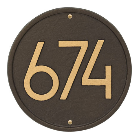 "Address plaque Neohaus Modern Round 8.75"" personalized wall"