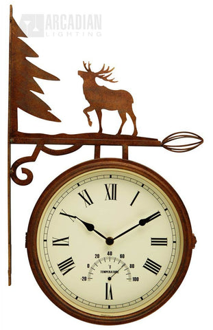Elk silhouette fence or wall clock