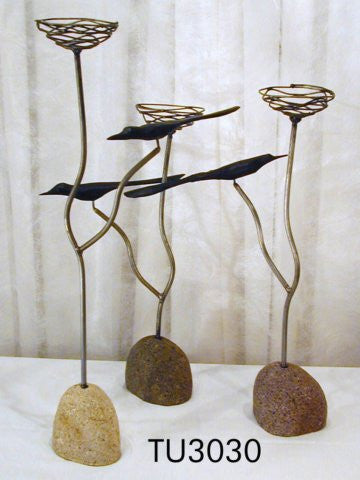 Blackbird candlesticks set of 3