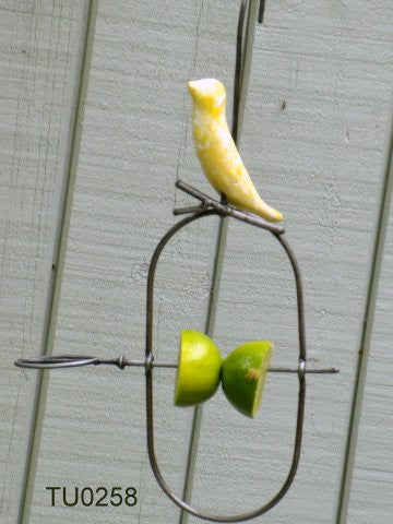 Bird feeder, fruit spear with bird