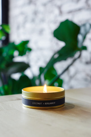 Coconut + Bergamot Gold Travel Tin