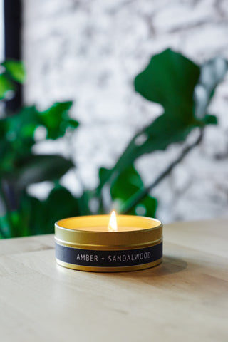 Amber + Sandalwood Gold Travel Tin
