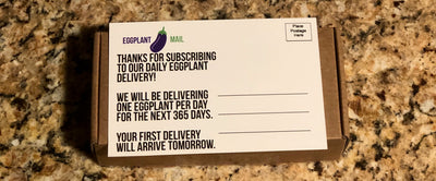 Funny Fake Postcard Daily Eggplant Delivery
