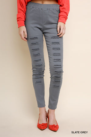 The Presley  Ripped Jeggings in Charcoal