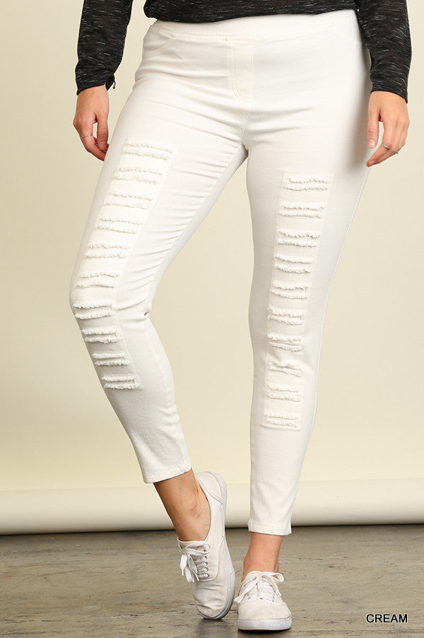The Presley Cream Ripped Jeggings