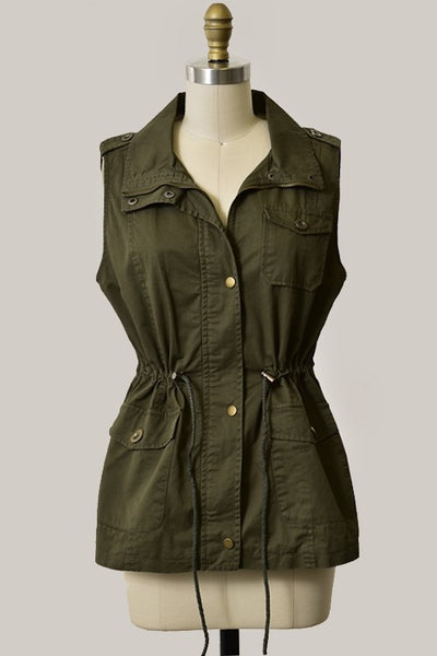 The Ashley Vest in olive