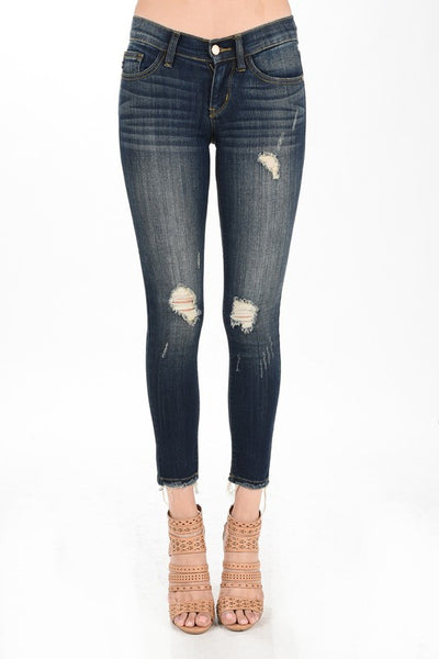 Regular medium Distressed Cropped Ankle Fray Skinny Jeans
