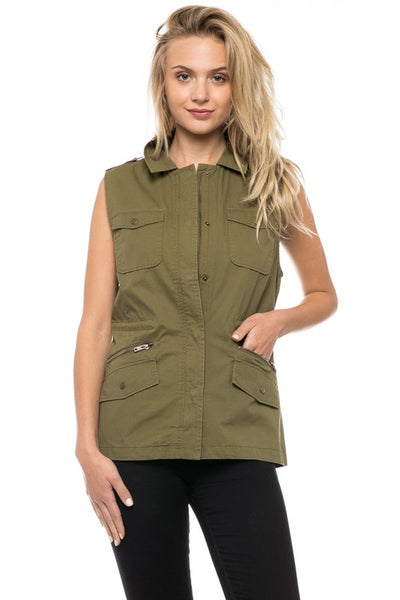 The Channing Vest in Olive
