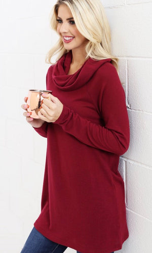 The Miley Cowl Neck Top in Burgundy