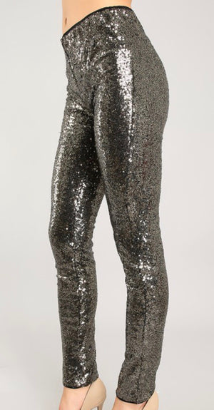 Black and Gold Sequin Legging Pant