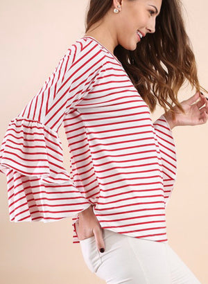 Red and Ivory Stripe Top with Bell Sleeves