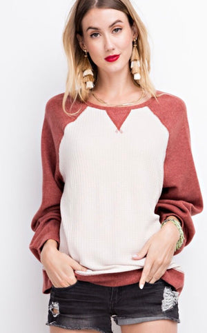 The Haven Thermal Block Top in Red Bean