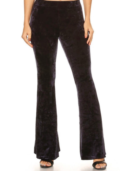The Hazel Velvet Pant in Black
