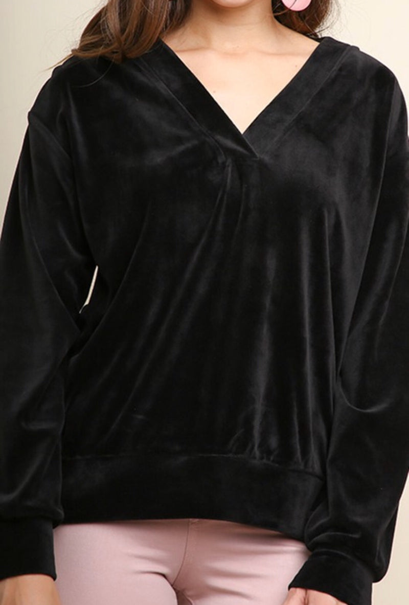 The Coley Velvet Top in Black