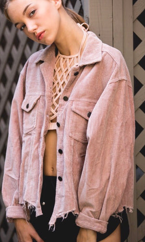 The Camden Corduroy Jacket in Dusty Pink