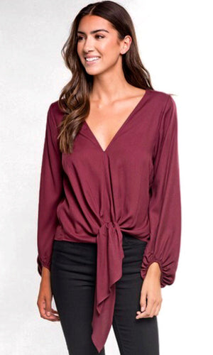 The Amberly Tie Top in Wine