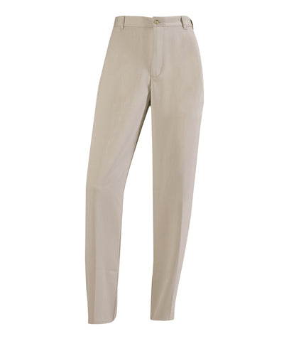 "The Russell Athletic Men's Flat Front Slacks provide the comfort you need while you're on and off the course. These lightweight pants feature moisture-wicking fabric and are wrinkle resistant with a flat front making them great for coaches as well. The pants have a 36"" unhemmed inseam with side pockets and don the Russell logo above the left back pocket. Back pockets have a button closure. Available in sizes 32-56."