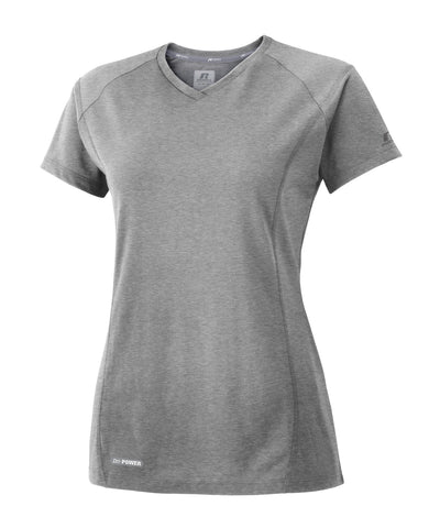 The Russell Athletic Women's Player's Tee features our Dri-Power moisture-wicking fabric and a modified crew neck with self material.