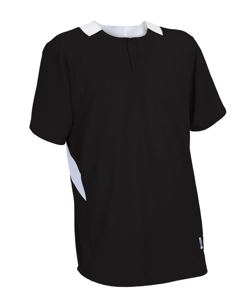 Russell Athletic Youth Performance Two Button Placket Jersey - Black/White