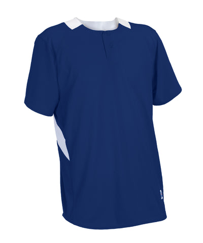 Russell Athletic Youth Performance Two Button Placket Jersey - Navy/White