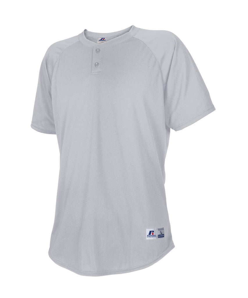 Russell Athletic Youth Two Button Placket Baseball Jersey - Baseball Grey Selected