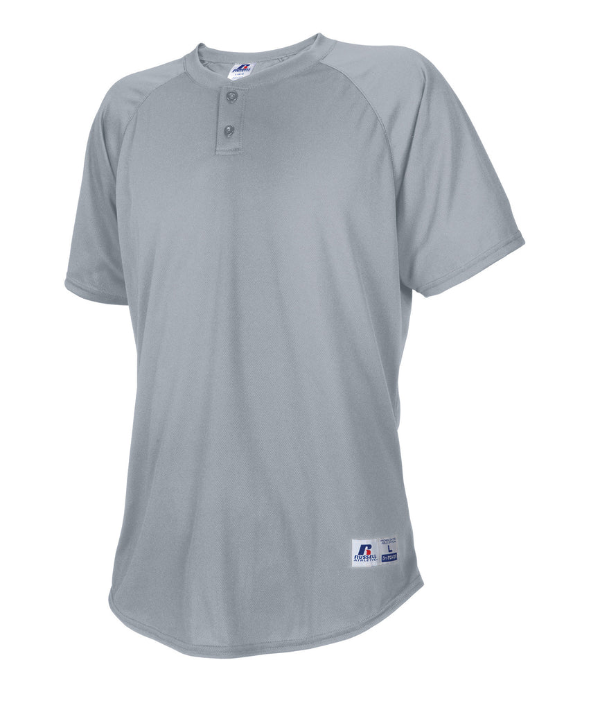 Russell Athletic Men's Two Button Placket Baseball Jersey - Baseball Grey Selected
